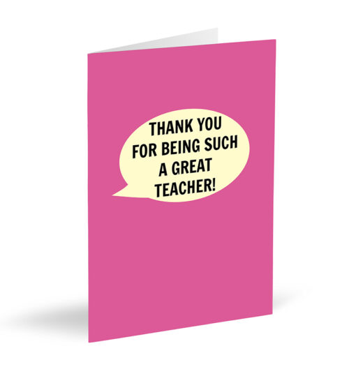 Pink Thank You For Being Such A Great Teacher! Card